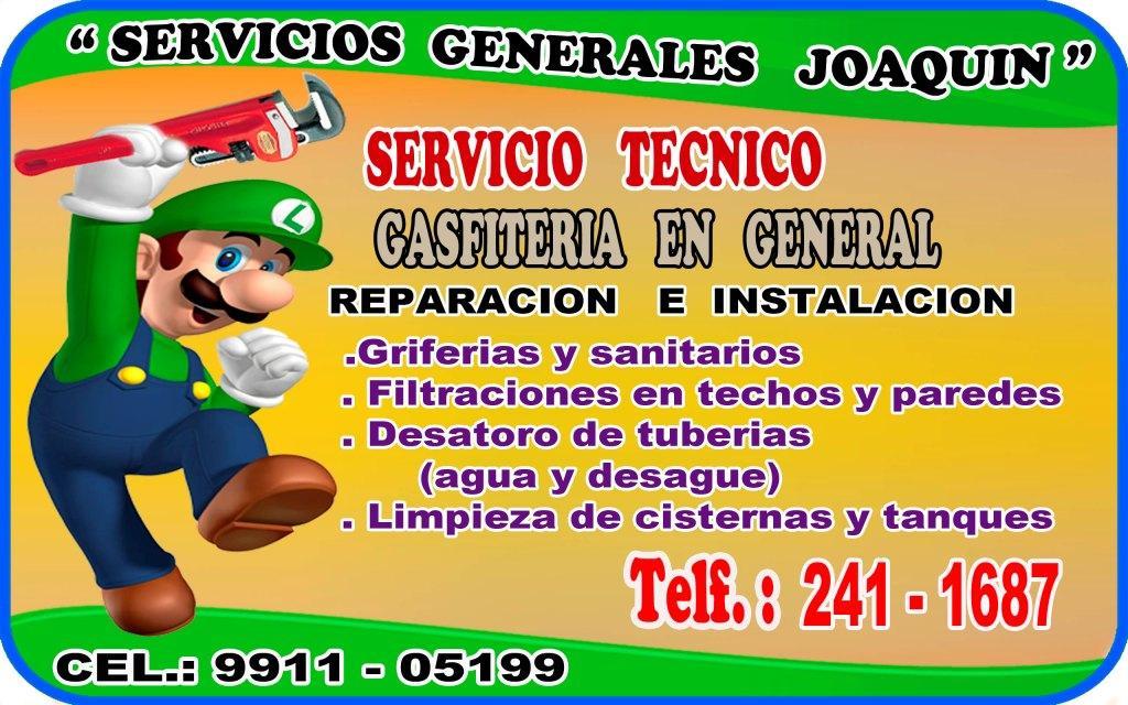 Servicio tecnico de GASFITERIA en todo lima 991-105-199